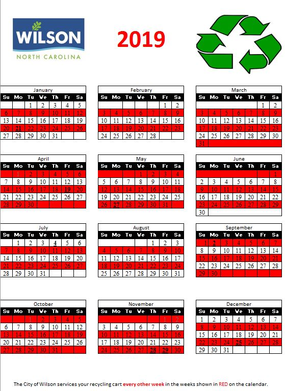Red Recycle Calendar